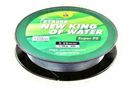 Плетеная леска New King Of Water 100м, grey(серая), 0.14, 8.0кг